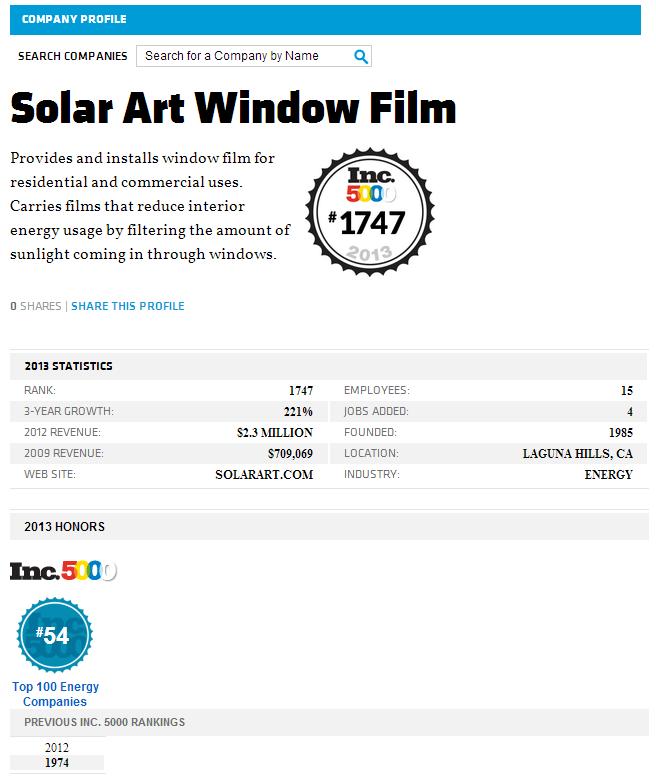 Solar Art Window Film Awarded #1747 in 2013 INC.5000 List