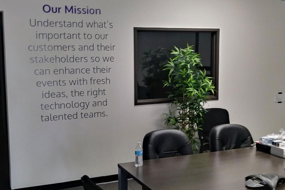 Mission statement wall mural