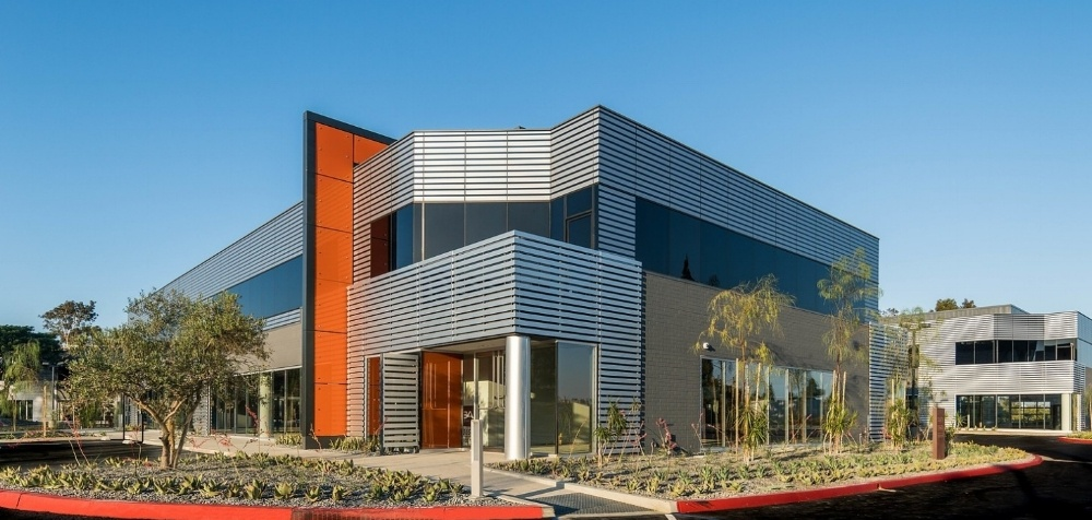 Brushed Aluminum Stripe Building Wrap, San Diego CA