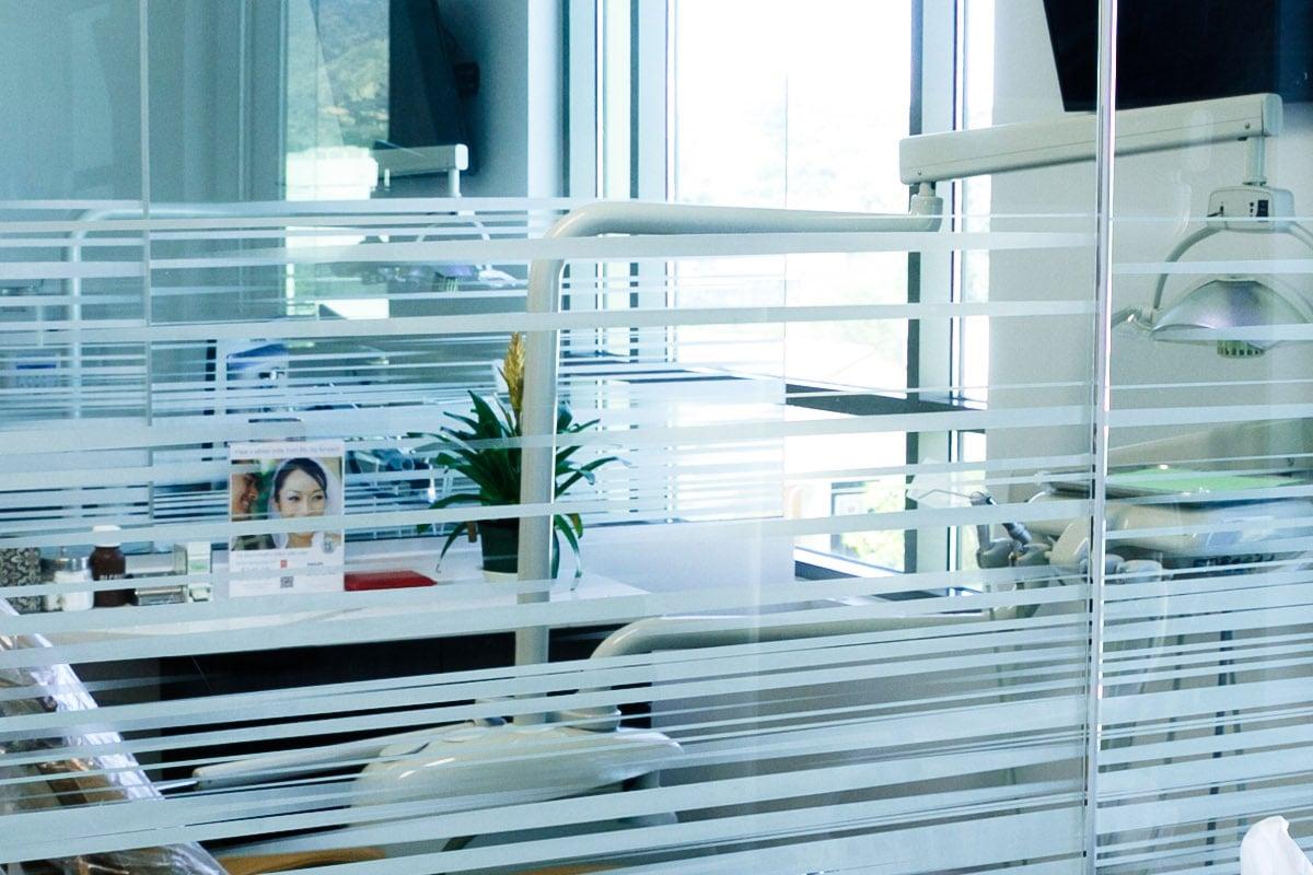 Decorative window film in an office