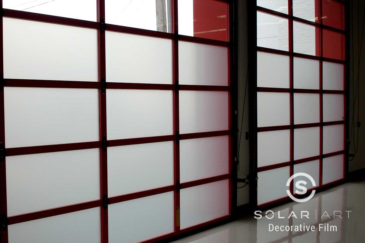 Solar Art Installed Frosted Window Filmto a Car Shop in San Francisco, California