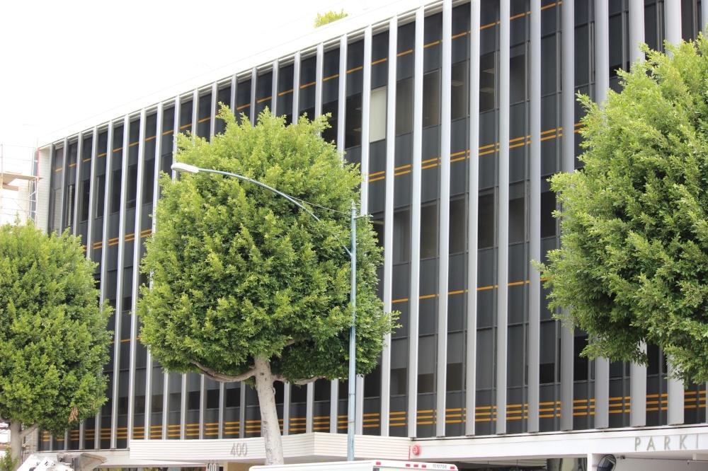 Colored Vinyl Stripe Building Wrap, Beverly Hills