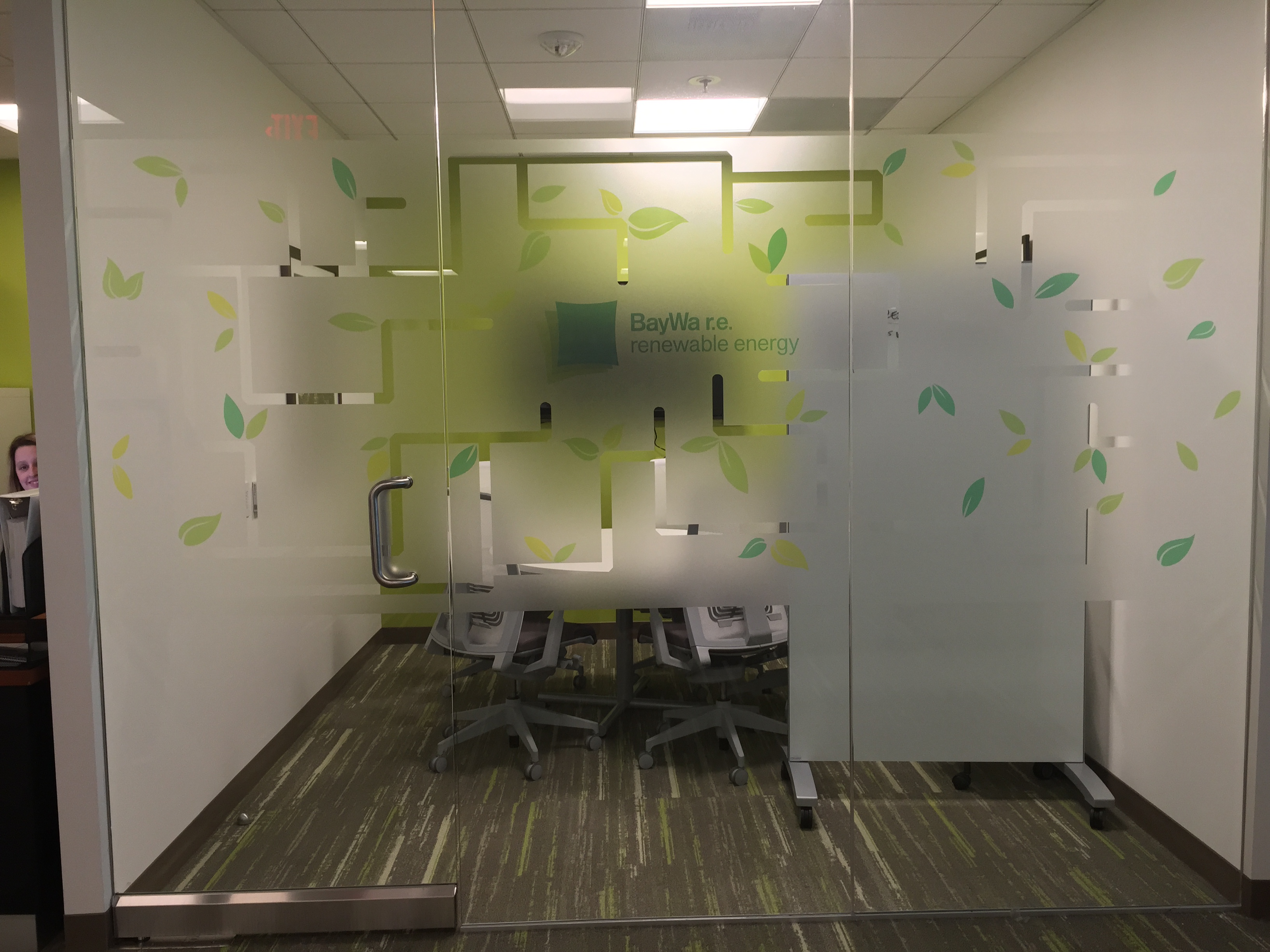Frosted Film and Wall Graphics at BayWa.r.e Offices- Irvine, CA